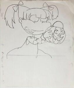 Rugrats Original 1990's Production Cel Drawing Angelica Halloween