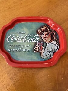 Vintage Drink Coca Cola Delicious And Refreshing Serving Tray Small Tin Tip Coke