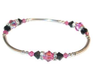 ROSE PINK & JET BLACK Crystal Bracelet Stretch Sterling Silver Swarovski Element