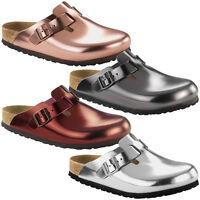 Birkenstock Boston SFB Glattleder Weichbettung Schuhe Damen Clogs Pantoletten