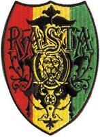 IRON ON/SEW ON - RASTA SHIELD - WOVEN PATCH RASTAFARI AFRICA JAMAICA REGGAE