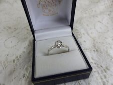 18ct 18carat White Gold Diamond Solitaire Ring,Size Q