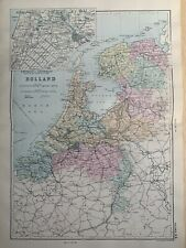1891 Holland Hand Coloured Original Antique Map by G.W. Bacon