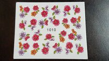 Nail Art Water Transfer Decal Stickers Red Purple Orange Flowers 1010
