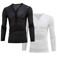 Men's Casual Slim Fit Deep V Neck Summer Long Sleeve T-shirt Basic Shirt Sale