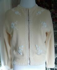 VTG 50s Gilberts Cocoa Beach Cream White Seed Pearl Beaded Lined Sweater S/M 38