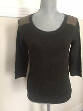 VG Express Heather Bottle Green Gold Quilted Causal Sweater 3/4 Sleeve XS