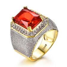 Woman Men Top Quality Huge Rectangle Ruby Topaz Gems Silver Ring Size 8-12