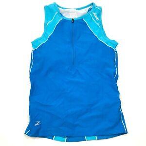 Zoot Cycling Jersey Size Medium M Blue White Shirt 1/2 Zip Tank Top Sports Bra