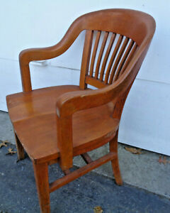 1 OF 2, OAK QUEEN ANNE? STYLE BARRISTER OFFICE/ JURY ARM CHAIR, A.H. ANDREWS