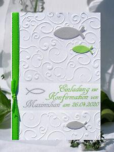 EINLADUNGSKARTEN zur KOMMUNION-KONFIRMATION-personalisiert-viele Farben