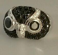 SS925 Ring Eule Größe 17 (53.5) Rhodiniert AAA CZ Sterlingsilber gestempelt