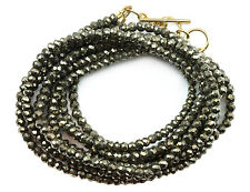 Pyrite Necklace or Wrap Bracelet 14k GF Three Strand Adjustable 7 8 22 Inch