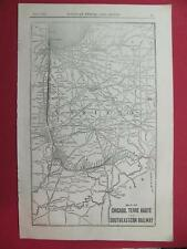 OLD 1920 CHICAGO TERRE HAUTE & SOUTHEASTERN RAILROAD SYSTEM MAP DEPOT LOCATION