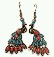 PEACOCK hippie hipster EARRINGS UK SELLER FREE DELIVERY
