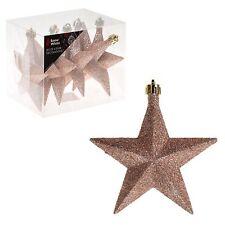 Snow White Shatterproof Christmas Tree Decoration 6 Glitter Star 100mm Rose Gold