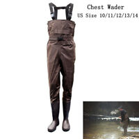 2-Ply Waterproof Chest Wader Fishing Hunting PVC Nylon Neoprene Cleated Bootfoot