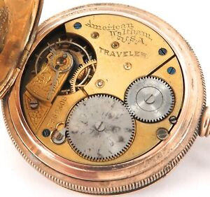 RARE ONLY 38,650 MADE / 1896 WALTHAM TRAVELER 16S 7J MENS POCKET WATCH.