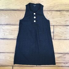 Claudie Pierlot Black Sleeveless Dress Round Collar Mini Short A-Line Print 2
