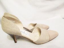 ANA BONILLA Collection Womens Pumps/Heels Shoes 6 1/2 M Leather/Linen Made Spain