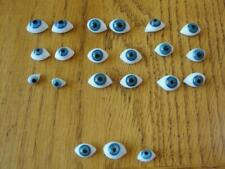 9 Pair of Misc. Vintage Doll Glass Flat Oval Eyes Antique Doll Parts Supplies