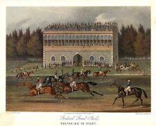 HORSE RACING COLOR PRINT GOODWOOD GRAND STAND JOCKEY SADDLE PREPARING TO START