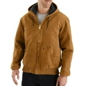 Mens Carhartt J130 4XL Tall Washed Duck Quilt Lined Sandstone Jacket Brown