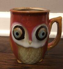 New listing Gibson Home Owl Coffee Mug Tea Cup Stoneware Ceramic Brick Red Brown 12 oz