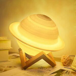 "5.5"" 3D Printing Saturn Moon Light Lunar LED Table Lamp Night Light Home Decor"