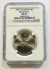 1995 S Olympics 50C Basketball NGC MS70 Brown Label Half Dollar 50 Cents