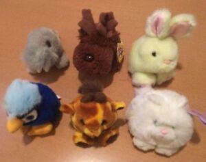 6 Swibco Puffkins: Rabbit, Cat, Walrus,Blue Bird, Giraffe, and Moose