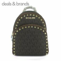 NWT MICHAEL KORS Abbey Medium Frame Out Studded Backpack in BROWN/ACORN MSRP$398