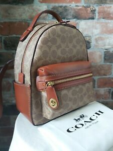 COACH SIGNATURE CARRIE REAL LEATHER COATED CANVAS BROWN BACKPACK BAG (XMAS) NWT