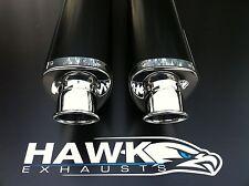 Suzuki GSX 1300 R Hayabusa Busa 2008- Pair of Black Tri Oval Exhaust, Silencers