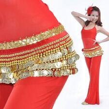 US2 NEW Belly Dance dress Belt Dancing Golden Coins Hip Scarf Velvet Wrap Skirt