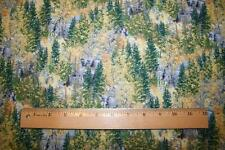 """OOP """"LAKESIDE CAMPING"""" PINE TREE AND AUTUMN LEAF TREES  OUTDOOR FABRIC"""