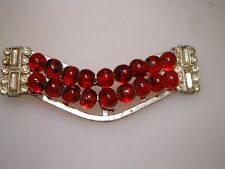 VINTAGE 1940'S RETRO POT METAL BAGUETTE RHINESTONE & RED GLASS BEAD PIN!