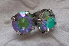 Silver Stud Earrings~Swarovski Crystals 8mm Cup Chain Paradise Shine/Antique