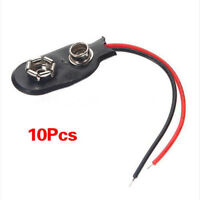 10Pcs Black Snap on 9V Battery Holder Clip Connector Hard Shell 10CM Cable Lead