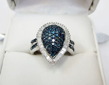 Real 1 Carat Pear Diamond Cocktail Ring Silver Sz 6 Blue Round White Baguette