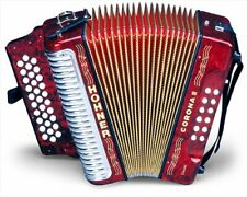 Hohner Button Accordion Corona II Classic EAD, With Gig Bag, Straps, Pearl Red