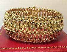 "14k Yellow Gold Artisan Curb Gucci Link Chain Wheat Byzantine Large Bracelet 7"""