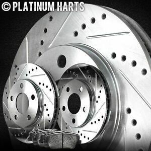 For 1989 Geo Tracker Front HartBrakes Drill Slot Brake Rotors+Semi-Met Brake Pad