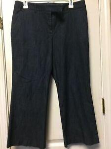 Garnet Hill Women's Jeans Straight Leg Stretch Capri Crop Size 12