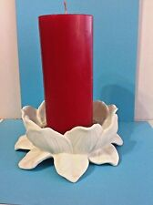 Beautiful!Red Pillar Candle Centerpiece in Partylite Ceramic Flower CandleHolder