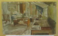 Tableau Ancienne Peinture Huile sur à L'Intérieur Écran Studio Du Peintre A