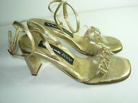 WOMENS RARE VINTAGE GOLD RHINESTONE YEAR 2000 SANDALS HEELS SHOES SIZE 5.5 M
