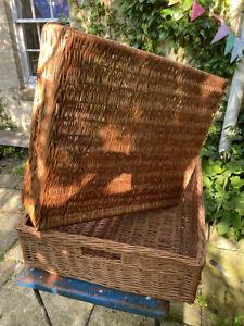 2 x Large French Farmhouse Wicker Laundry Baskets 67cm x 58cm x 18cm used