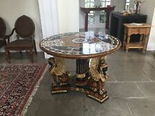 DIVINE MAITLAND SMITH EXOTIC INLAID FRENCH EMPIRE SPHINX CENTER HALL TABLE - P