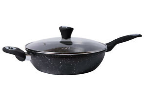 GRANITE Marble Coated WOK Non Stick Stir Frying Pan With Transparent Glass Lid